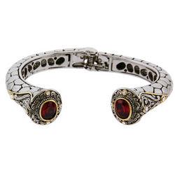 Designer Inspired Renaissance Style Garnet CZ Cuff Bracelet