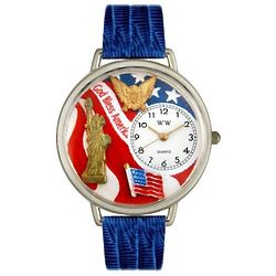 Large July 4th Patriotic Watch in Silver