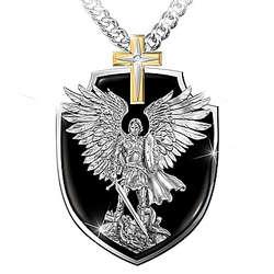 Engraved St Michael Shield Pendant Necklace for Grandson
