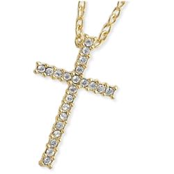 Crystal Cross Pendant on Gold Tone Chain