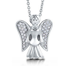 Sterling Silver and Cubic Zirconia Guardian Angel Necklace