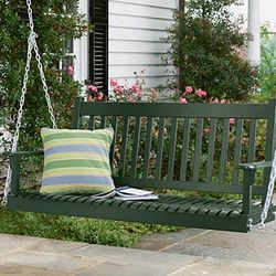 Classic Slatted Wood Swing