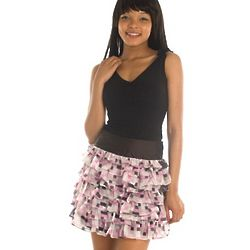 Cute Floral Checkered Chiffon Tiered Skirt