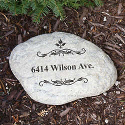 Engraved Filigree Welcome Garden Stone