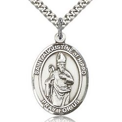 Sterling Silver St. Augustine of Hippo Pendant with Chain