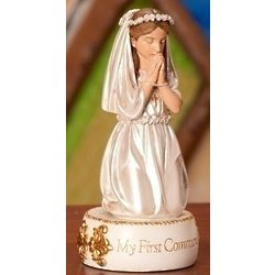 First Communion Kneeling Girl Figurine