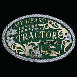 John Deere My Heart Belongs Oval Belt Buckle