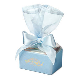Baby Blue Organza Favor Box with Ghirardelli Squares