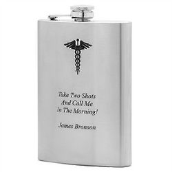 Medical Caduceus Symbol Flask