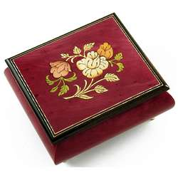 Red Wine Music Box with a Floral Wood Inlay
