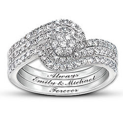 Personalized Our Love Story 3-Band Diamond Ring
