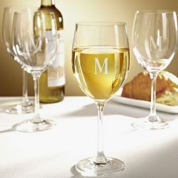 Personalized White Wine Glasses with Single Initial