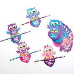 Owl Valentine's Day Cards and Pencils