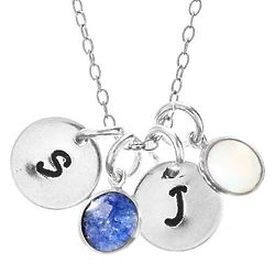 Hand Stamped Sterling Silver Mini Initial Birthstone Necklace