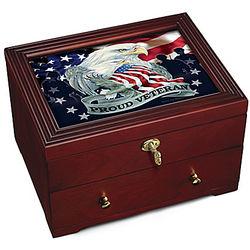 Proud Veteran Patriotic Eagle Art Wooden Box