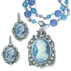 Blue Cameo Jewelry Set