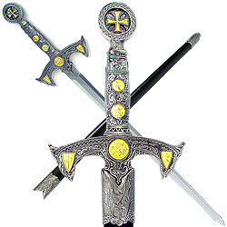 39 Inch Knight Templar Sword with Hard Scabbard