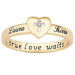18K Gold Over Sterling True Love Waits Purity Ring