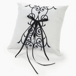 Black and White Wedding Ring Pillow