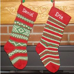 Personalized Wool Knitted Stripe Christmas Stocking