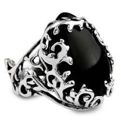 Arbor Vine Sterling Silver Onyx Ring