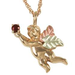 10K Gold Birthstone Angel Necklace