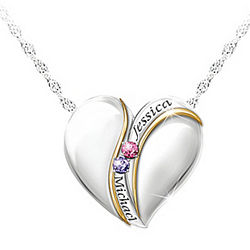 Brought Together By Love Name Engraved Birthstone Necklace