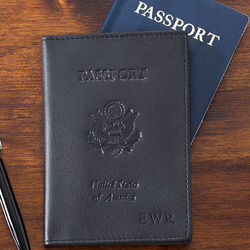 First Class Black Leather Debossed Passport Cover