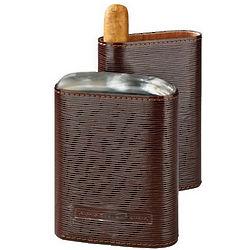 4 Finger Brown Leather Horn Top Cedar Lined Cigar Case