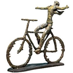 Bicyclist in the Breeze Sculpture