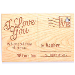 Carved Personalized I Love You Wood Postcard Plaque