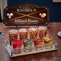Personalized Billiard Room Game Night Sign & Serving Set