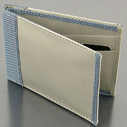 Stainless Steel Woven Metal Fabric Wallet with Blue Mesh Trim