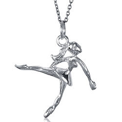 Dancing Girl Sterling Silver Pendant with Chain