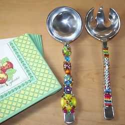 Bon Appetit Serving Spoons with Colorful Glass Accents