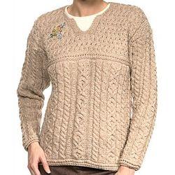 Merino Wool Keyhole Aran Sweater