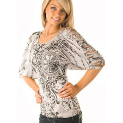Gray and Black Slashed Sleeve Dolman Top