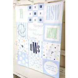 Personalized Patchwork Baby Boy Blanket