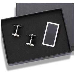 Black and Silver Cufflinks with Black Leather Money Clip