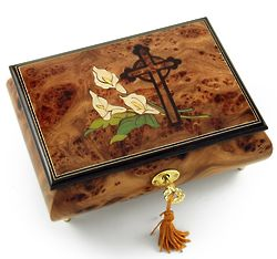 Calla Lilies and Cross Inlay Musical Jewelry Box