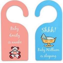 Sleeping Awake Personalized Baby Door Hanger