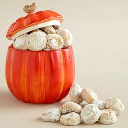 Pumpkin Cookie Jar with Pecan Meltway Cookies