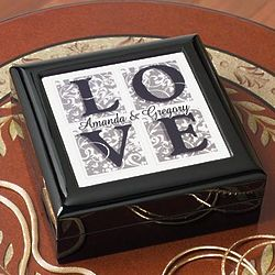 Personalized Floral Love Black Keepsake Box