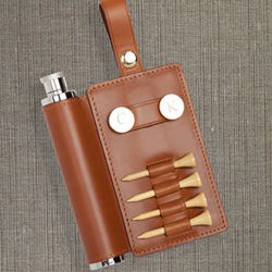 Tan Leather Personalized Golf Accessory Caddy with Flask