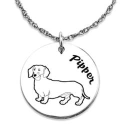 Sterling Silver Engraved Name and Dog Breed Pendant