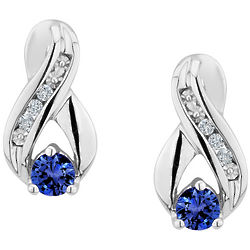Created Sapphire Infinity Earrings with Diamonds