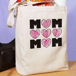 Mom's Hearts Canvas Tote Bag