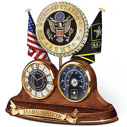 Personalized US Army Wooden Thermometer & Desk Clock