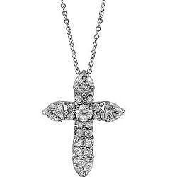 Cubic Zirconia Accent Sterling Silver Cross Pendant Necklace