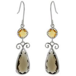 Champagne and Brown Sterling Silver Dangle Scroll Earrings